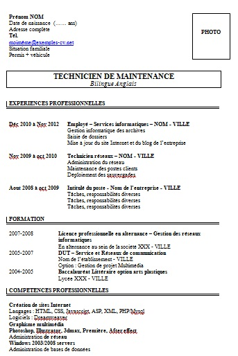 exemple cv technicien de maintenance informatique