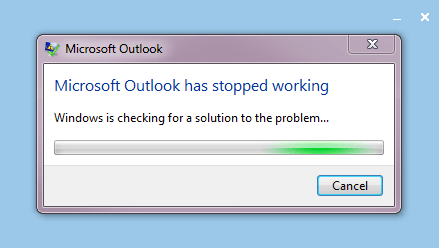 Microsoft Office Outlook 2013 Preview crash screen