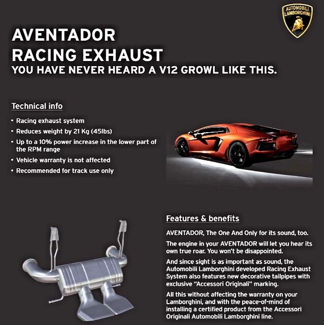aventador factory race exhaust