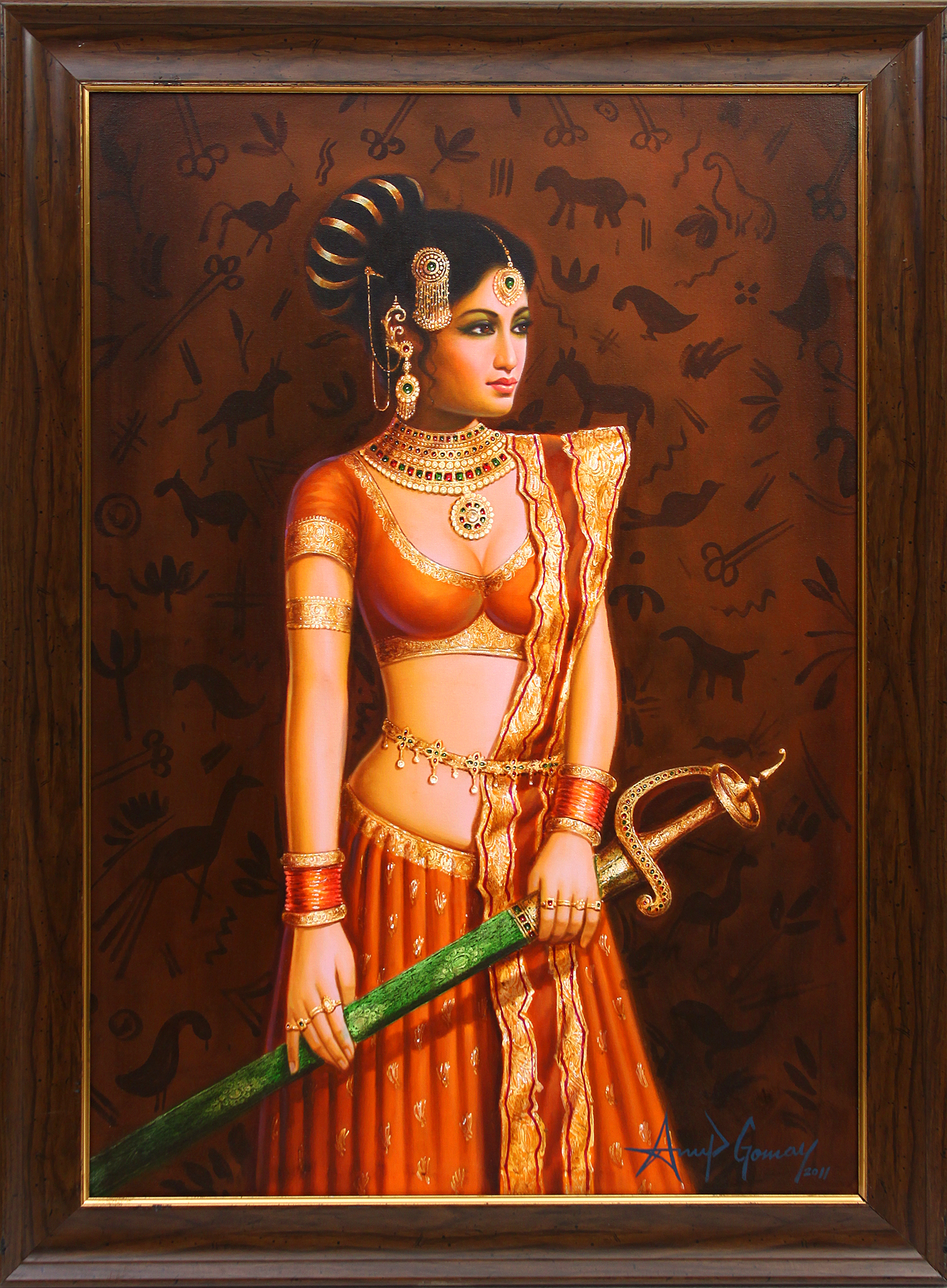 Bridal Girl Wallpaper The Lady With The Sword Framed Oil Painting