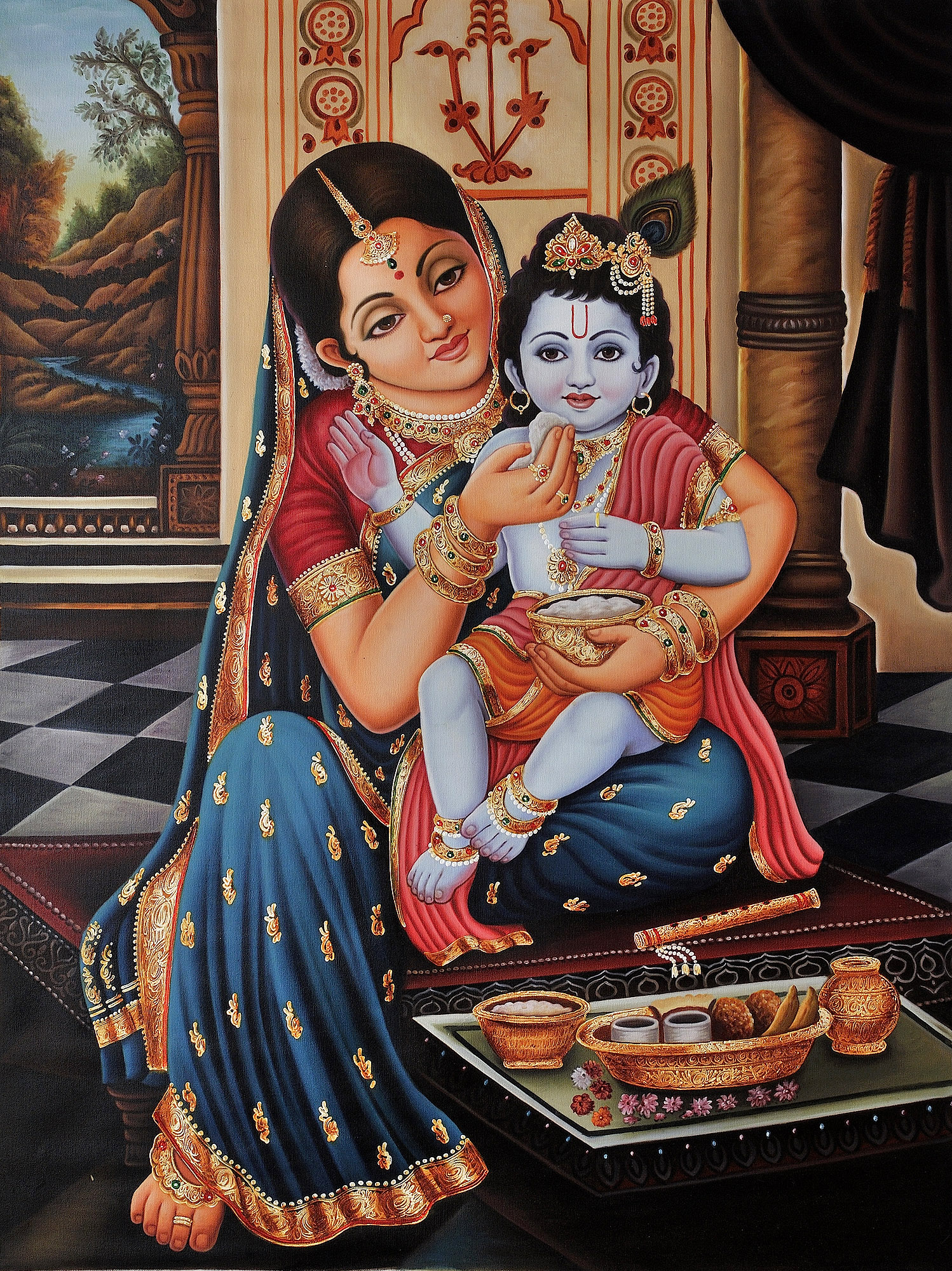 Krishna And Radha Hd Wallpaper Mother Yashoda Feeding Baby Krishna Framed