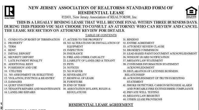 What to look for in a Rental Lease Agreement in NJ - rental lease agreement