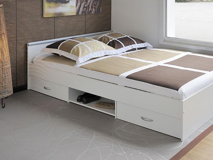 140 Bett 1 Oder 2 Lattenroste  Jugendbett Bett 140x200cm Mit 2 Bettk228;sten Weiss