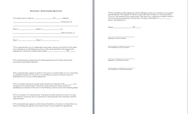 subcontractors agreement template