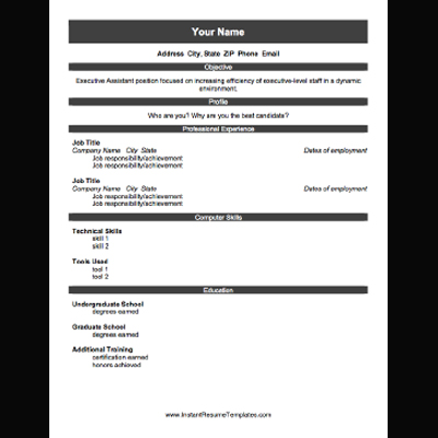 free printable blank resume template - Free Printable Resume Forms