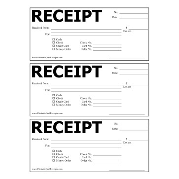 Printable Cash Receipt - Cash Recepit