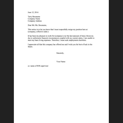 Resignation letter format due to low salary professional resume cv resignation letter format due to low salary resignation letters letter of resignation templates resignation letter due spiritdancerdesigns Choice Image