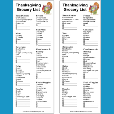 Printable Thanksgiving and Christmas Grocery Lists - shopping lists