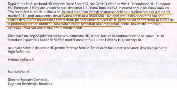 scrisoare hd tv romtelecom