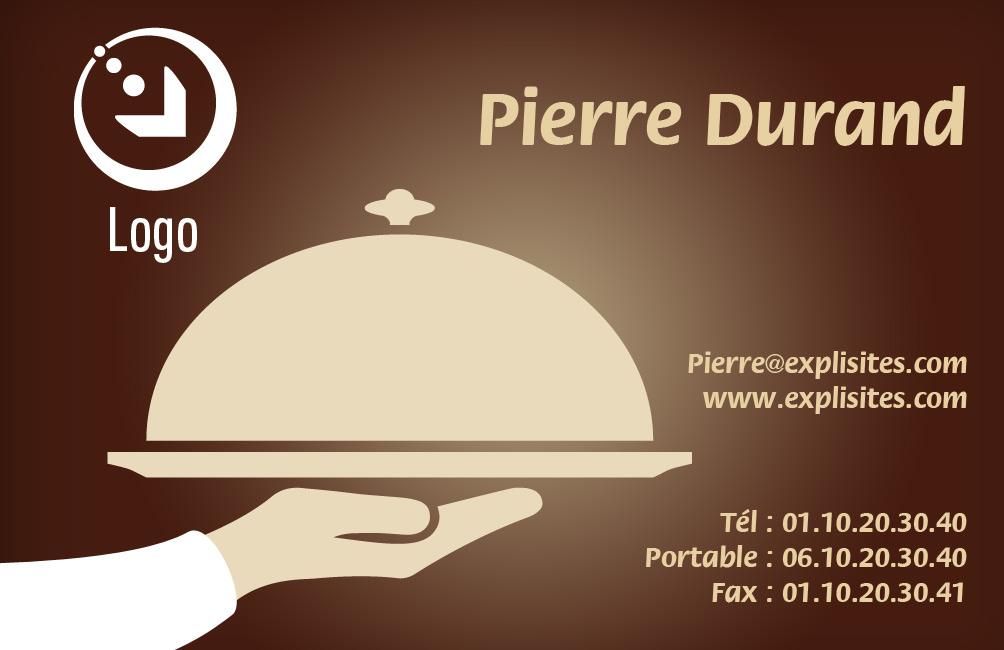 Carte de visite serveur - Catégorie Restauration - 100 Gratuite