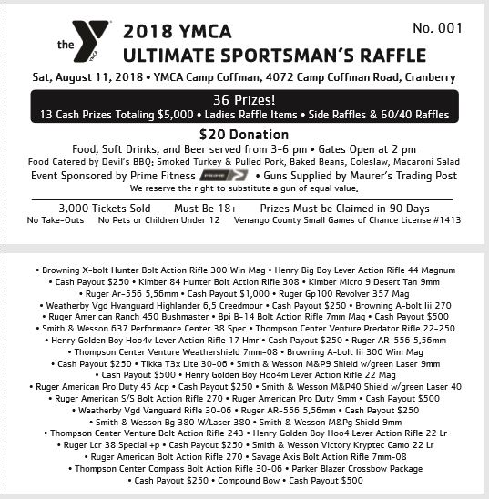 YMCA to Host Ultimate Sportsman\u0027s Raffle August 11, 2018