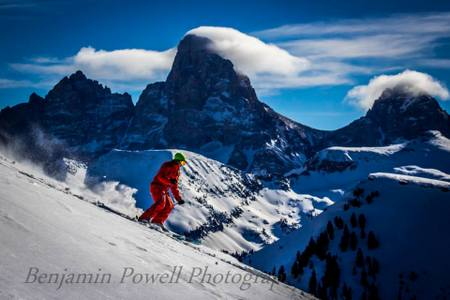 Skiing with view of the Grand Tetons