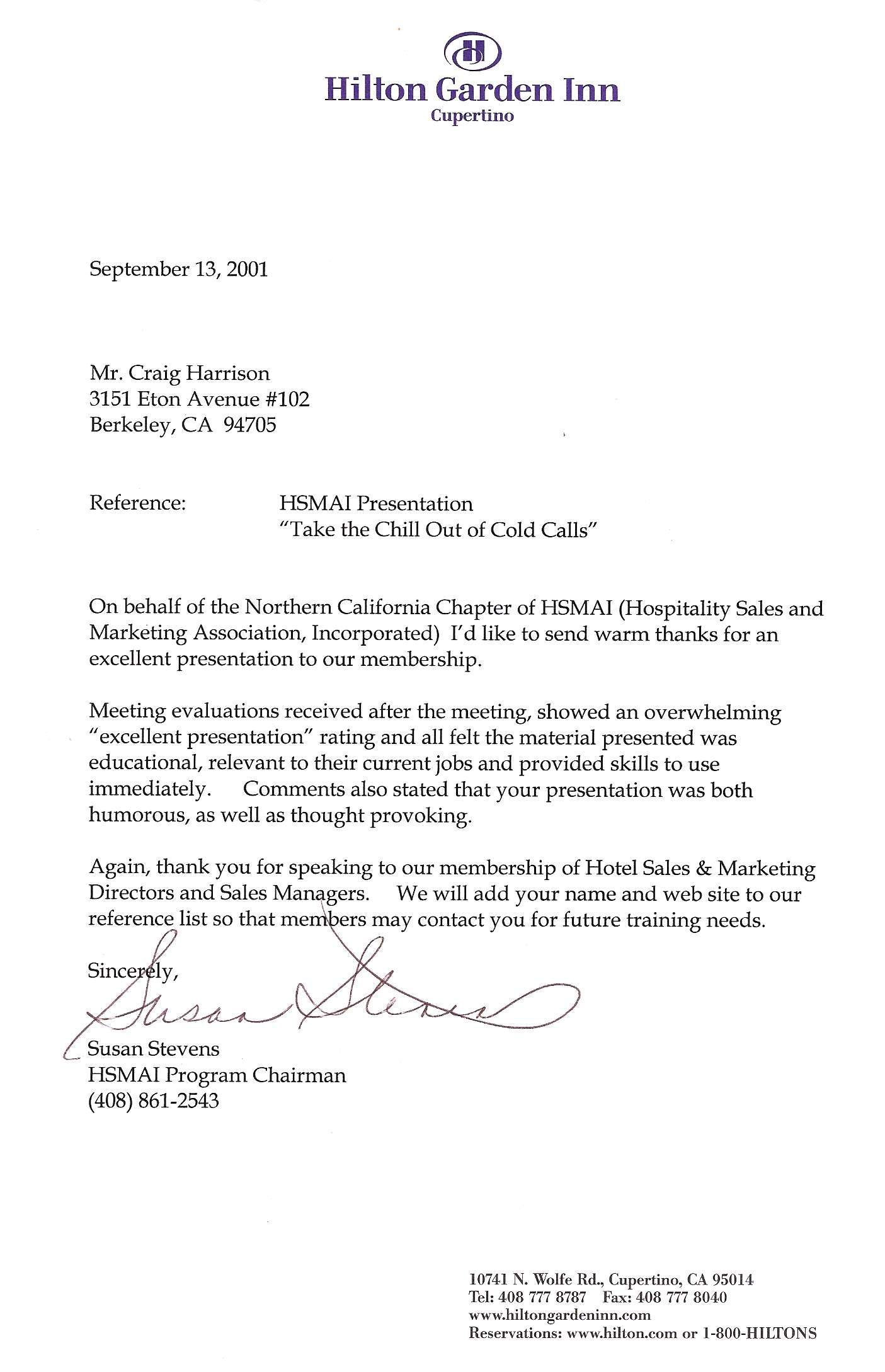 Reference Letter Hospitality