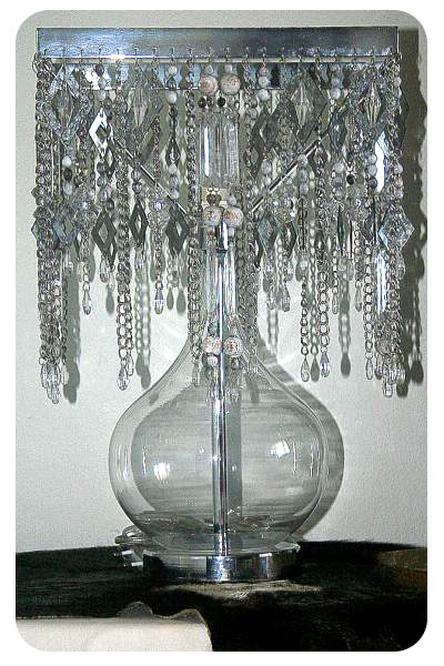 CN003 - Glass bubble base with grey diamante trims glass beads chain and white washed balls...