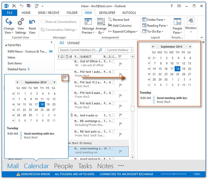 View A Calendar In Outlook 2010 How To Display Calendar Items In The Side View Of Outlook How To Show And Disable Calendar Peek View In Outlook
