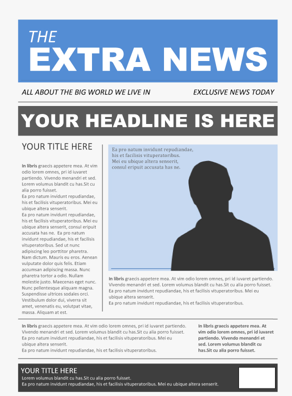 Free Newspaper Template Pack For Word Perfect For School - Newspaper Headline Template