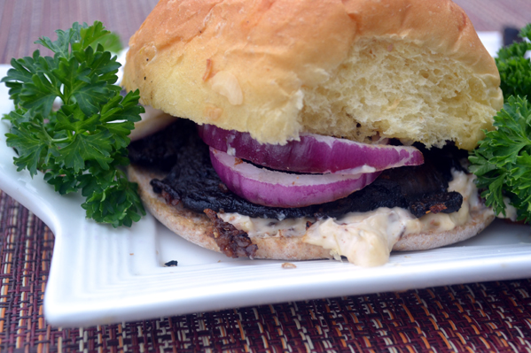 Grilled Portabella Burger with Sundried tomato Aoli Sauce