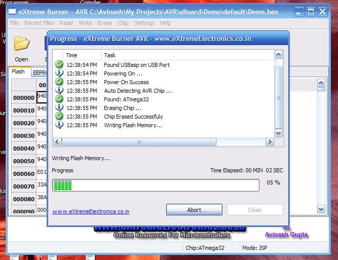 GUI Software for USBasp - Burn Progress