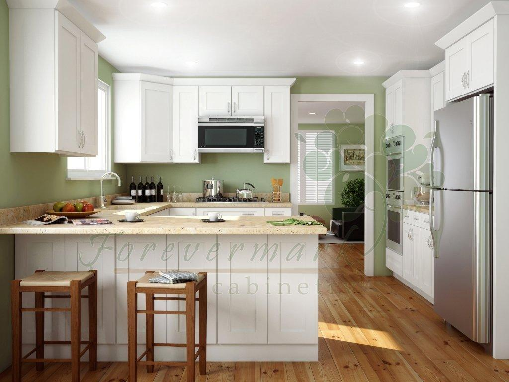 icewhite white shaker kitchen cabinets White Shaker RTA Cabinets with dovetail drawers soft close drawer glides