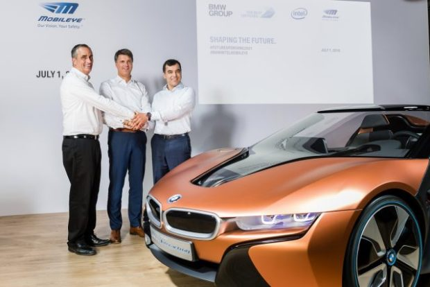 BMW Group, Intel and Mobileye July agreement: Brian Krzanich (Intel CEO), Harard Krüger (BMW chairman), Amnon Shashua (Mobileye Chairman).