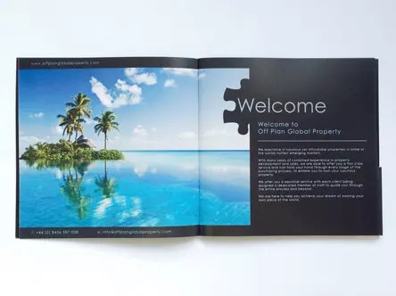 Luxury property brochure printing UK delivery - property brochure