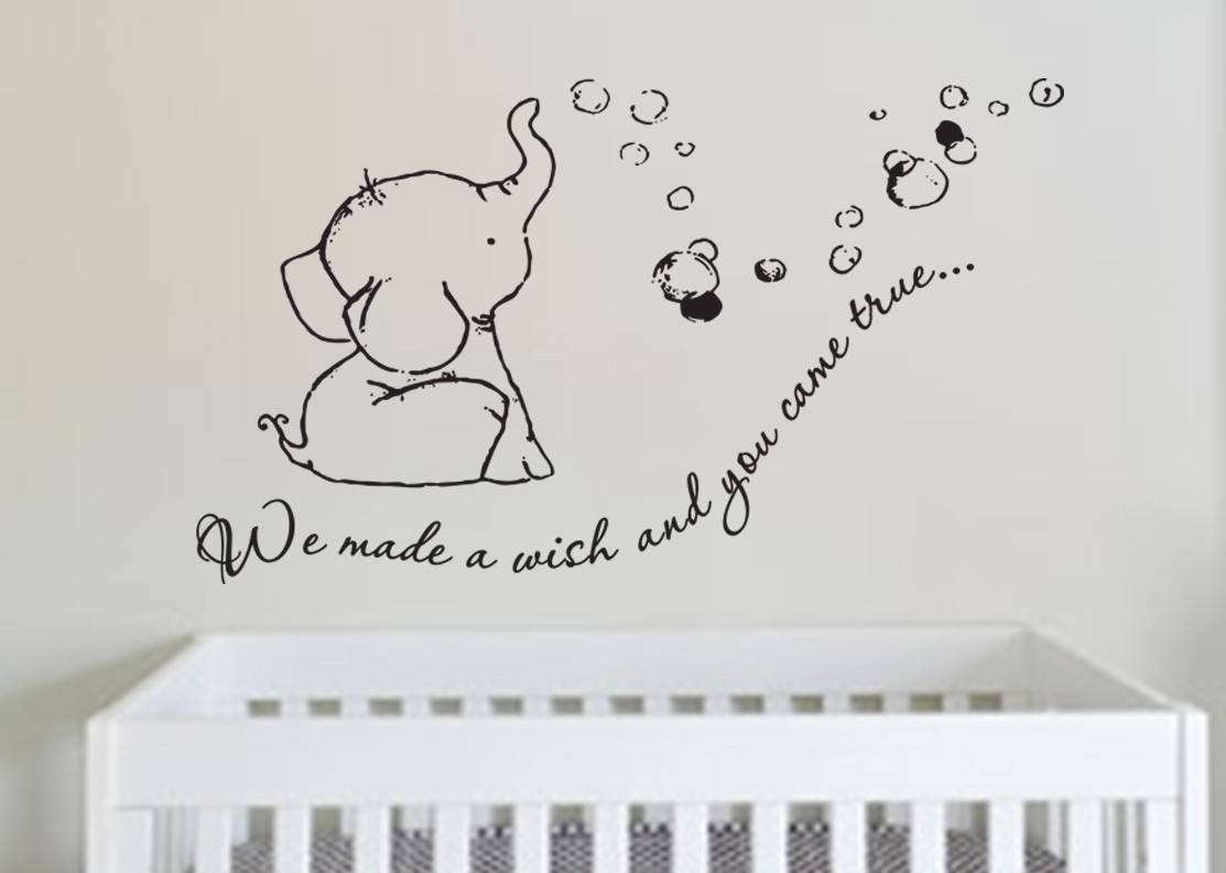 Adorable We Made a Wish Baby Elephant Wall Decal Sticker