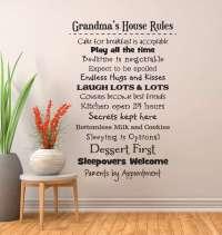 Grandmas house rules wall decal sticker   Grandma wall decals