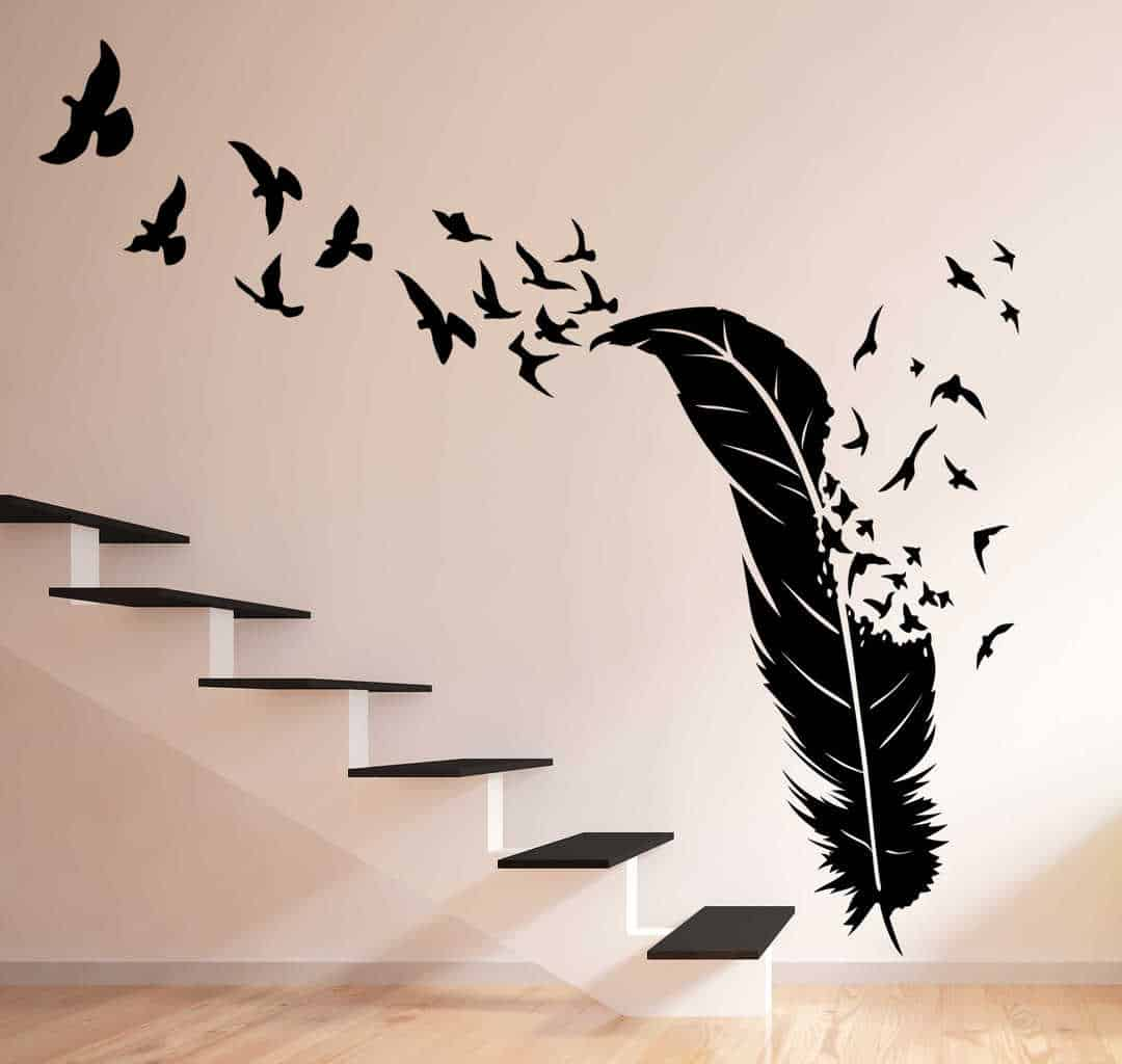 Birds flying out of feather wall decal