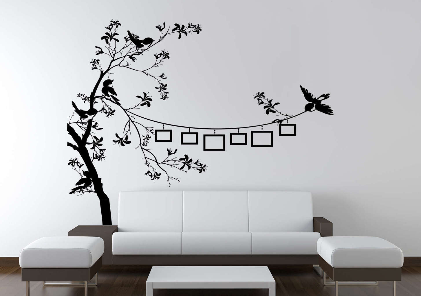 Bird photo frame tree wall decal
