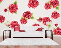 Red Rose Flower Wall Decal Set now available at Eydecals