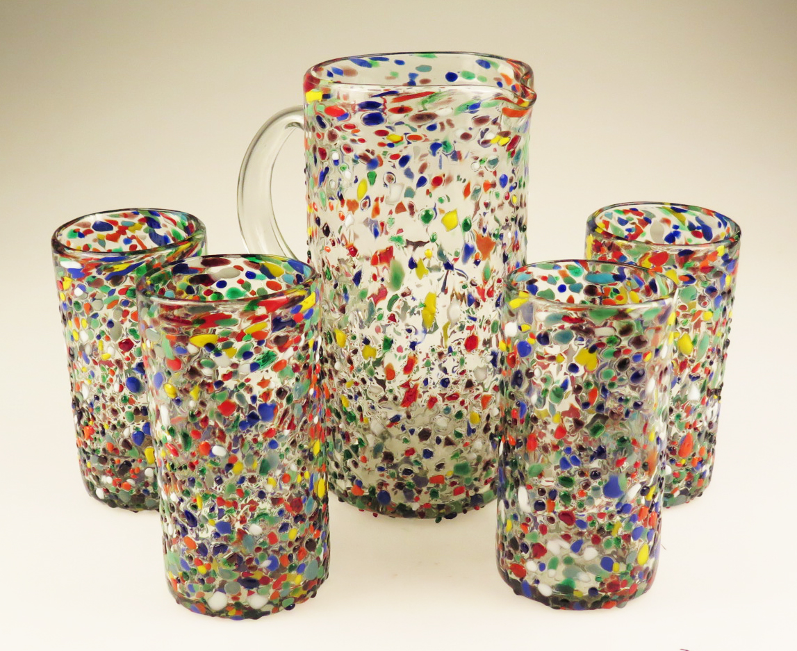 Mexican Glass Bumpy Confetti Tumbler Drinking Glasses