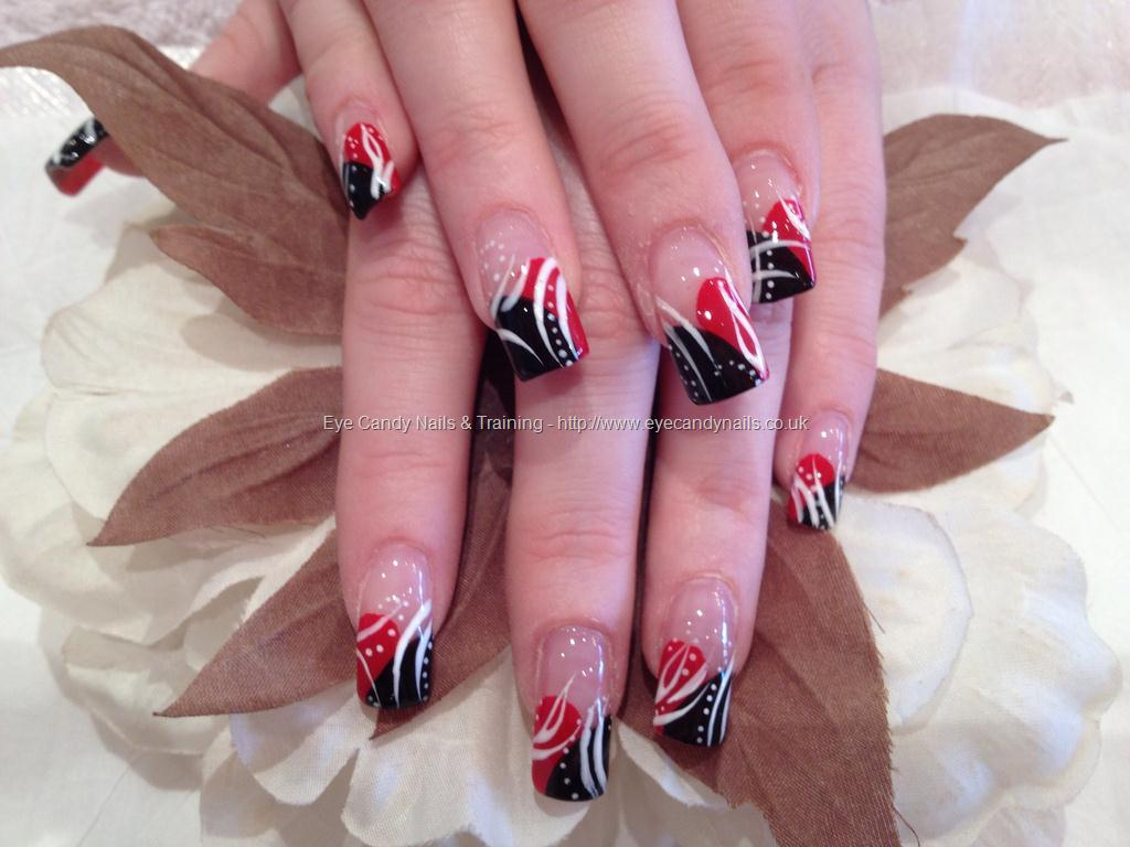 Eye Candy Nails Training Red And Black Freehand Nail