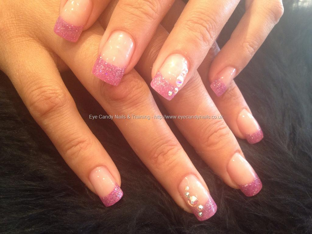 Eye Candy Nails Training Purple Pink Glitter Fade With