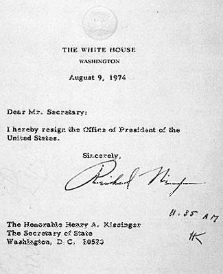 President Nixon\u0027s resignation letter