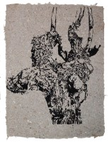 Rebstock 02 ca 60 x 45 cm - Tusche auf afrikanischem handmade Paper, grau 2016
