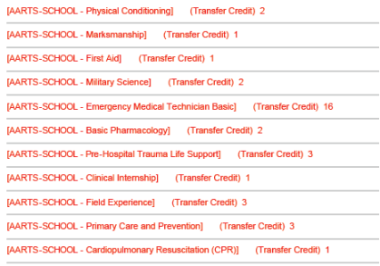 68w college credits - AARTS Transcripts