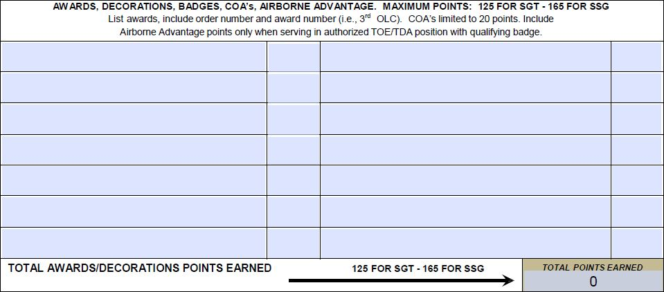 Printables Army Promotion Worksheet army promotion point worksheet ppw da form 3355 ez points awards decorations on the worksheet