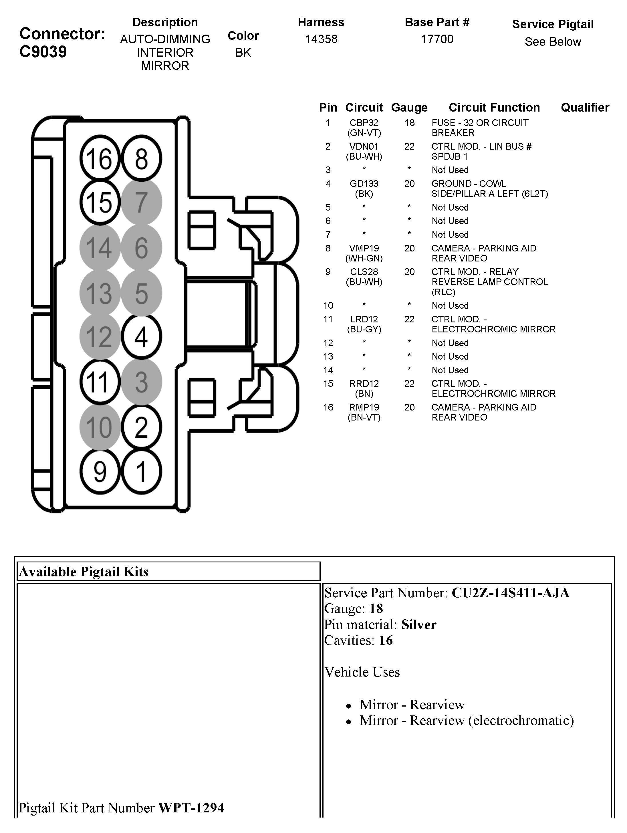 wiring diagram auto rear mirror ford f150
