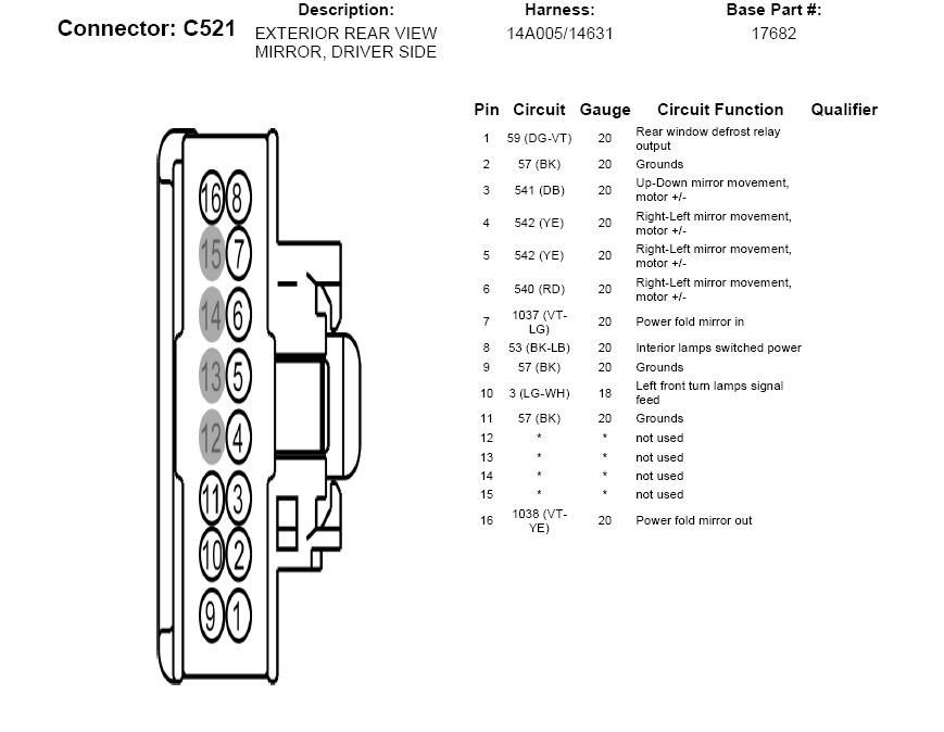 Ford Mirror Wiring Diagram - Wiring Data schematic