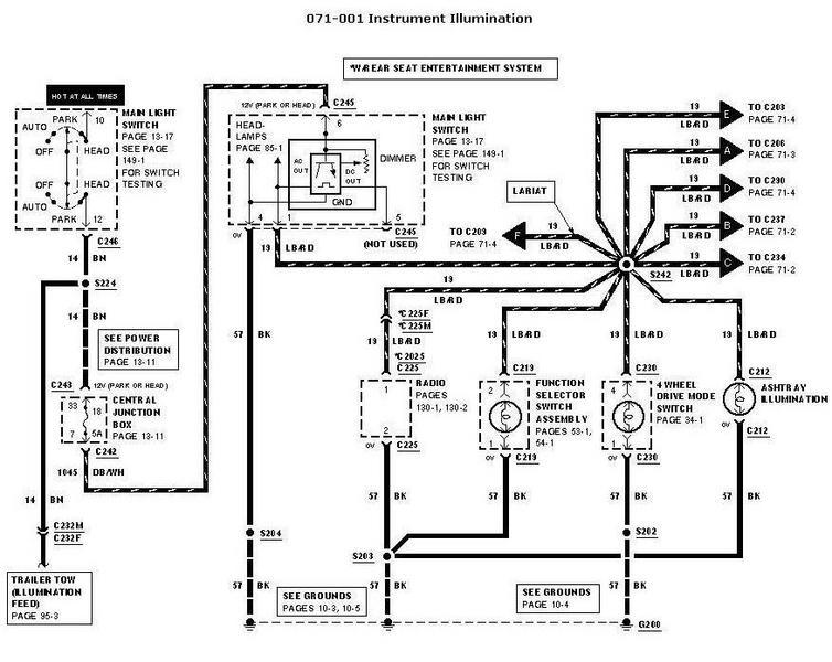 ford ranger dome light wiring