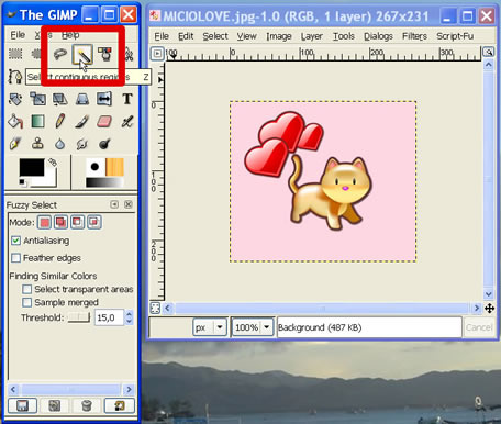 transparent image with GIMP - how to make a picture transparent