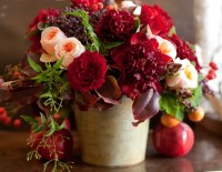 Peach & Red flower arrangement