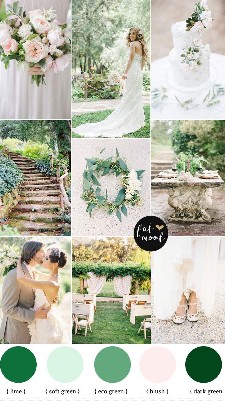 Nature garden wedding theme { Shades of green + blush