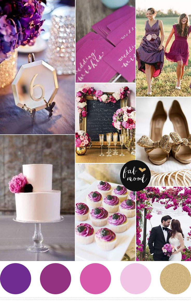 radiant orchidpurple gold wedding color palette purple and gold wedding Purple and gold wedding color palette Royal purple Plum Radiant orchid