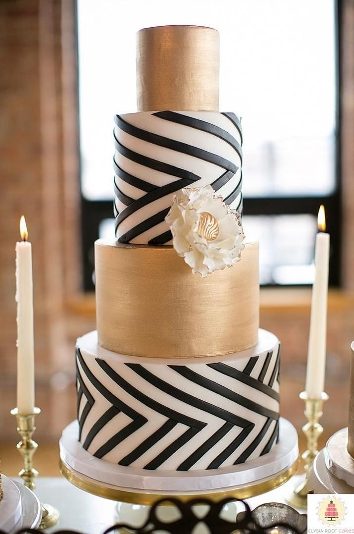 black white and gold wedding cake 1 - Fab Mood Wedding Colours - pink black and white weddings
