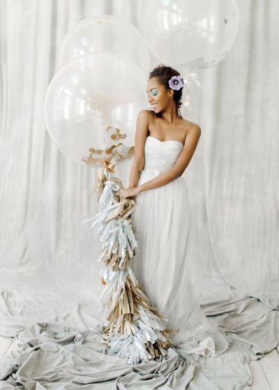 Romantic and Feminine Bridal Inspiration grey wedding dress