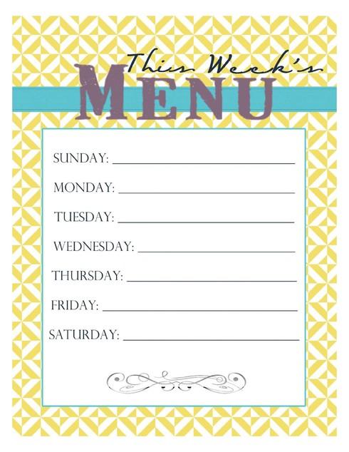 20 Free Menu Planner Printables Fab N\u0027 Free - weekly menu