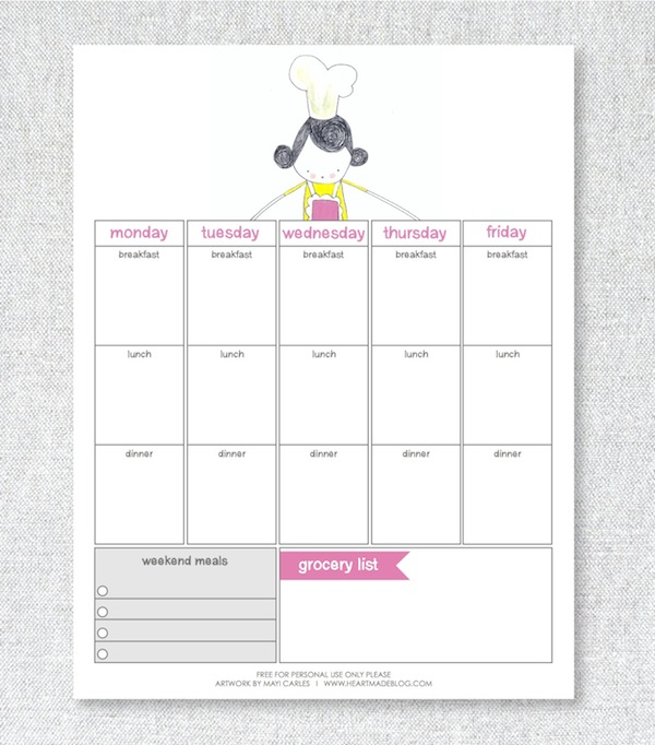 20 Free Menu Planner Printables Fab N\u0027 Free - Printable Weekly Menu Planner With Grocery List