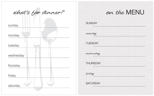 20 Free Menu Planner Printables Fab N\u0027 Free - weekly dinner planner with grocery list