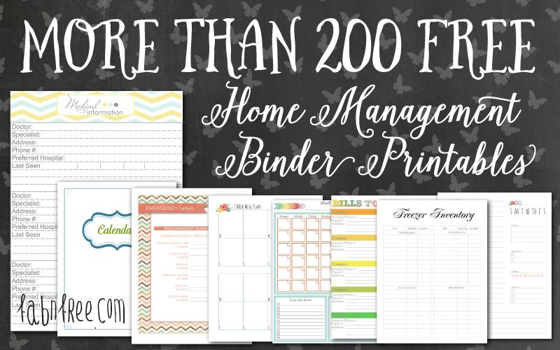 More than 200 FREE Home Management Binder Printables Fab N\u0027 Free